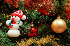 Christmas tree. A christmas tree decoration detail with a snowman and two colored balls royalty free stock photo