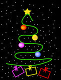 Christmas tree. Vector green christmas tree with presents on black background Stock Photos
