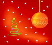 Christmas tree. Vector green christmas tree with presents on red and orange background Stock Photos