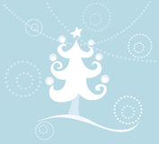 Christmas tree. A simple illustration with a Christmas tree against blue background Royalty Free Stock Photo