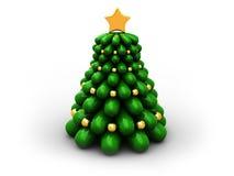 Christmas tree. 3d illustration of stylized xmas tree over white background stock illustration