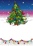 Christmas tree. Greeting banner with Christmas tree Stock Images