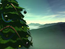 Christmas tree. 3d render of christmas tree on mountain Royalty Free Stock Photography
