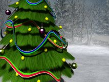 Christmas tree. 3d render of christmas tree on mountain Stock Images