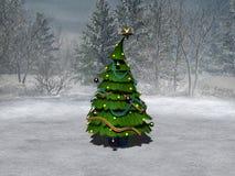 Christmas tree. 3d render of christmas tree on mountain Royalty Free Stock Photos