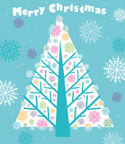 Christmas tree. Christmas card with tree and snowflakes stock illustration