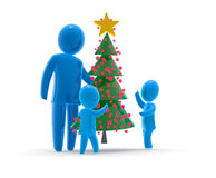 Christmas tree. Father carries christmas tree and boys are jubilant Royalty Free Stock Photos