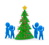 Christmas tree. Kids are dancing around christmas tree Stock Photography