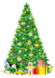 Christmas tree. Trimmed with baubles and ornaments, of live green color, with gifts and toys nearby it, isolated on white background Stock Photos