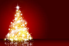 Christmas tree. Over deep red background Stock Photography