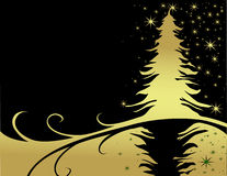 Christmas tree. Black and gold royalty free illustration