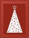Christmas tree. Geometrical white Christmas tree on red background Royalty Free Stock Photos