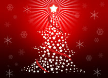 Christmas tree. Whit red gradient background Royalty Free Stock Photography