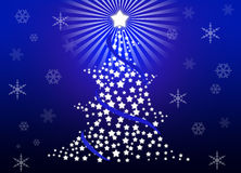 Christmas tree. Whit blue gradient background Royalty Free Stock Photos