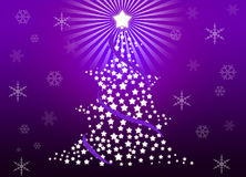 Christmas tree. Whit violet gradient background Royalty Free Stock Image
