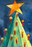 Christmas tree abstract. Watercolor painting, created and painted by the photographer Royalty Free Stock Photography