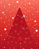 Christmas tree abstract. An illustration of an abstract christmas tree made up of snowflakes stars and sparkles on a rich red background with snow shower Stock Photography