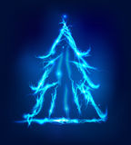 Christmas tree, Abstract background made of Electric lighting. Effect Royalty Free Stock Images