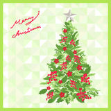 Christmas tree on abstract background, merry christmas card, vec. Tor illustration royalty free illustration