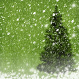 Christmas tree on abstract  background with snow Stock Photography