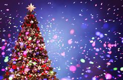 Christmas tree with Abstract colorful blurred lights. For christmas design background,3d illustration royalty free illustration