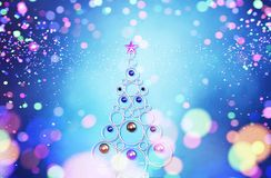 Christmas tree with Abstract colorful blurred lights. For christmas design background,3d illustration vector illustration