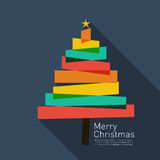 Christmas tree. Abstract christmas tree in flat design style with Merry christmas writing Royalty Free Stock Photos