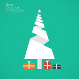 Christmas tree. Abstract christmas tree in flat design style with Merry christmas writing Royalty Free Stock Photography