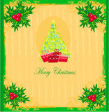 Christmas tree with abstract holly berry decoration Stock Images