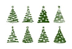 Christmas tree, abstract symbol. New year, xmas set of icons. Vector illustration. Isolated on white background vector illustration