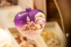 Christmas tree adornment, close up image. Christmas tree adornment with decorative painting, christmas decoration, christmas festive season, Christmas Evening royalty free stock photos