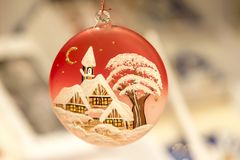 Christmas tree adornment, close up image. Christmas tree adornment with decorative painting, christmas decoration, christmas festive season, Christmas Evening Stock Image