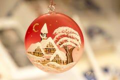Christmas tree adornment, close up image. Christmas tree adornment with decorative painting, christmas decoration, christmas festive season, Christmas Evening stock image