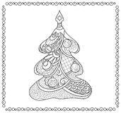Christmas tree adult coloring page. Fir tree coloring page for adults. Christmas coloring book page. Vector coloring page for Christmas card or paper decor. New Stock Images