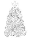 Christmas tree adult coloring page. Winter holiday  illustration. Stock Photos