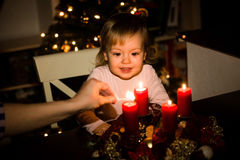 Christmas tree and advent wreath Royalty Free Stock Image