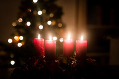 Christmas tree and advent wreath Stock Photography