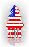 Christmas tree with the American flag vector illustration