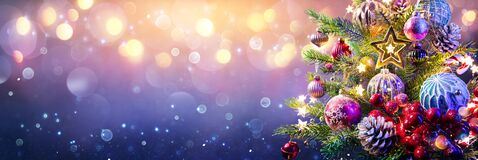 Free Christmas Tree And Baubles Stock Photo - 204105150