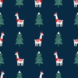 Christmas Tree And Cute Lama With Xmas Hat Seamless Pattern On Dark Blue Background. Stock Photos
