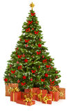 Christmas Tree And Presents Gifts, Xmas Tree Toys On White Royalty Free Stock Image
