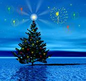 Christmas tree andcolor flashes Royalty Free Stock Photography
