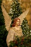 Christmas Tree and Angel. An elegantly dressed Christmas angel figurine with a lighted Christmas tree in the background stock images