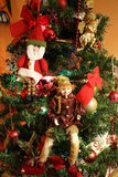 Christmas Tree Angel, Elf, Santa, Lights and Tree Decorations Royalty Free Stock Image