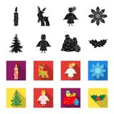 Christmas tree, angel, gifts and holly black,flet icons in set collection for design. Christmas vector symbol stock web. Christmas tree, angel, gifts and holly Royalty Free Stock Photography
