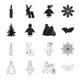Christmas tree, angel, gifts and holly black,outline icons in set collection for design. Christmas vector symbol stock. Illustration Stock Image