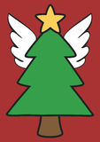Christmas Tree with Angel Wings Stock Images
