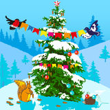 Christmas tree and animals. Royalty Free Stock Image