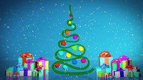 Christmas tree animation. With gifts stock video footage
