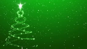 Stylish Christmas Tree Animated Background Falling Snow over Green